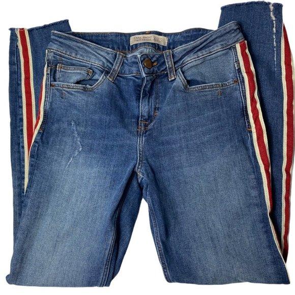 Zara Basic Z1975 Stretch Jeans Raw Cuff Red Stripe